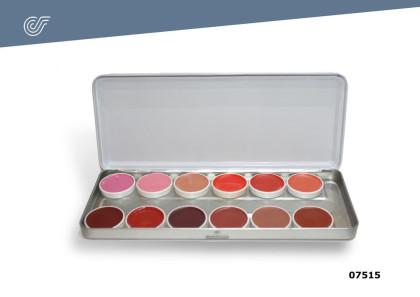 Paleta 12 colores labios 40 ml.